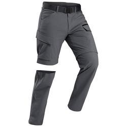 Men's trekking convertible travel trousers - TRAVEL 500 CONVERT - Dark grey