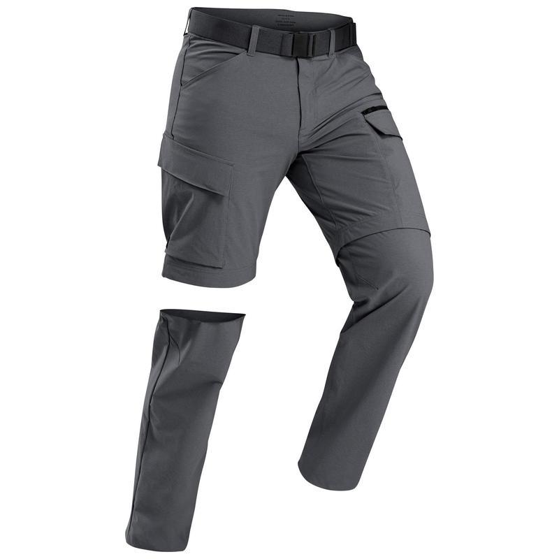 Pantalon modulable de trek voyage - TRAVEL 500 MODUL gris foncé homme