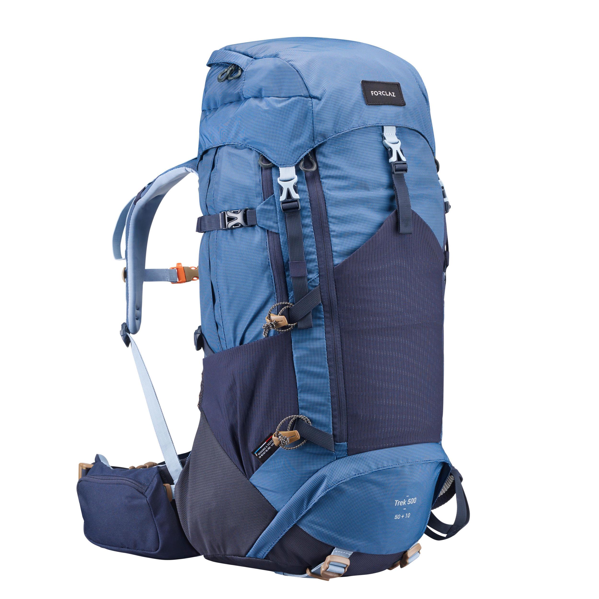 Sac à dos de randonnée en montagne TREK 500 50+10 L bleu - Femmes