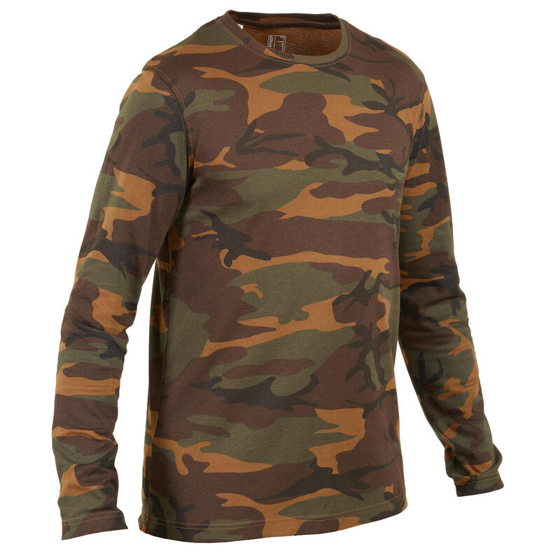T-shirt manches longues chasse 100 camouflage woodland vert/marron