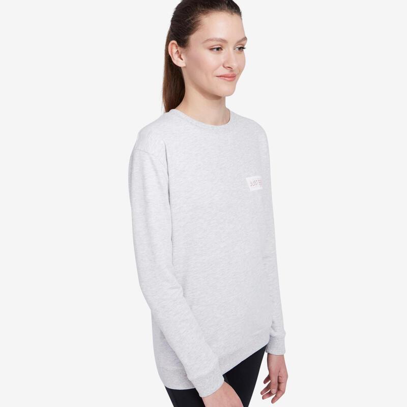 Crew Neck Fitness Sweatshirt - Light Grey Print