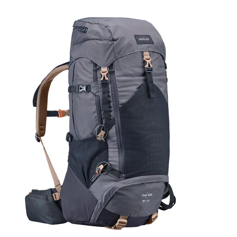 Men's mountain trekking rucksack   TREK 500 50+10L - black   forclaz