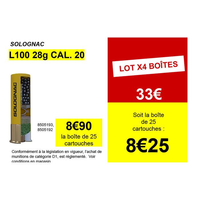 CARTOUCHE L100 28g CALIBRE 20/70 PLOMB N°6 X25