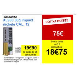 CARTOUCHE XL900 50g IMPACT CALIBRE 12/76 PLOMB NICKELE N°4 X25