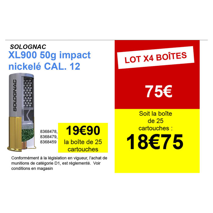 CARTOUCHE XL900 50g IMPACT CALIBRE 12/76 PLOMB NICKELE N°6 X25