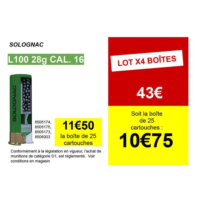 CARTOUCHE L100 28g CALIBRE 16/67 PLOMB N°4 X25