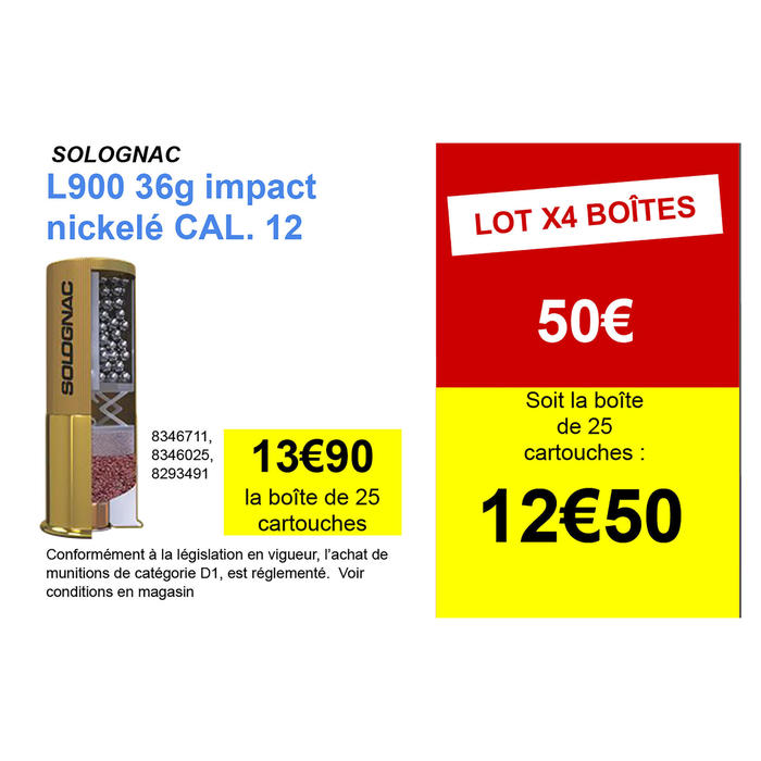 CARTOUCHE L900 36g IMPACT CALIBRE 12/70 PLOMB NICKELE N°4 X25