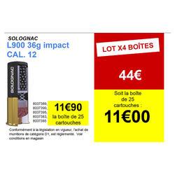 CARTOUCHE L900 36g IMPACT CALIBRE 12/70 PLOMB N°7 X25