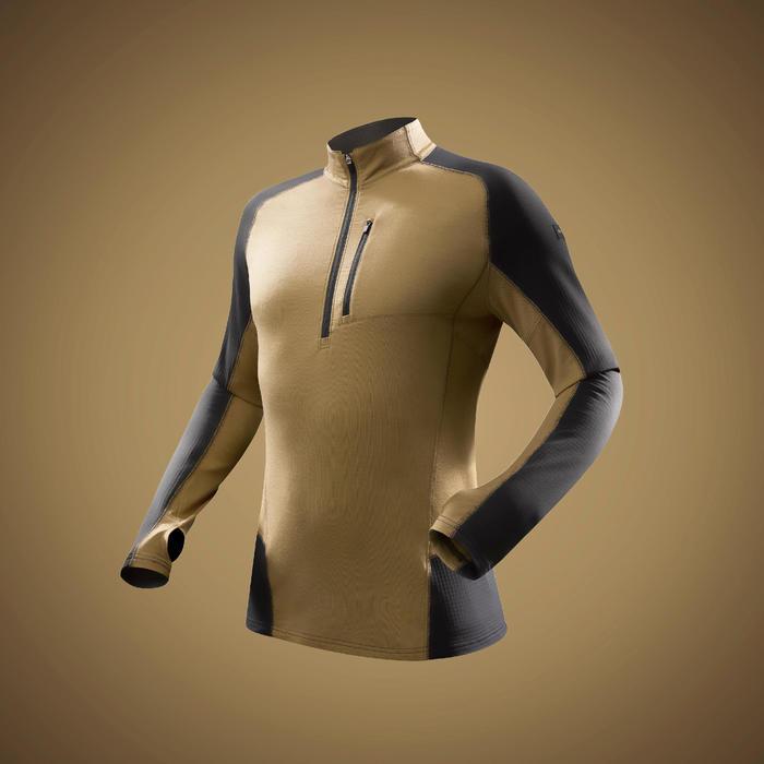 Merino shirt met lange mouwen voor bergtrekking heren Trek 900 bruin