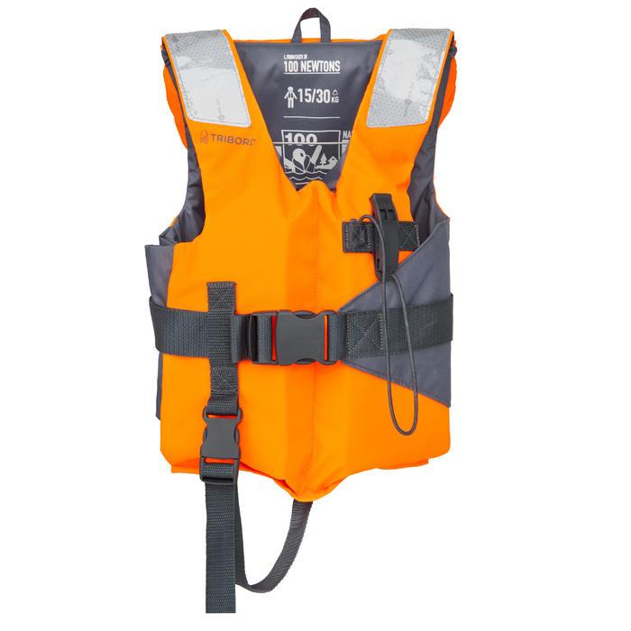 兒童款救生衣100N LJ EASY-橘色/灰色