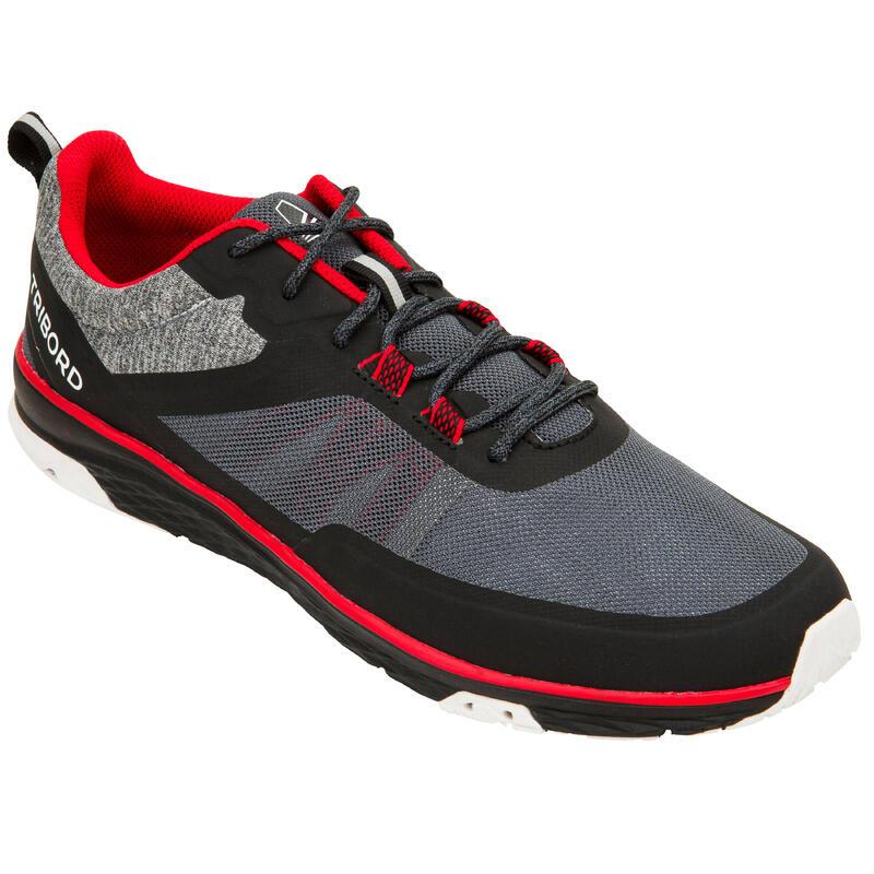 Chaussures bateau basket de voile Race homme femme noir rouge