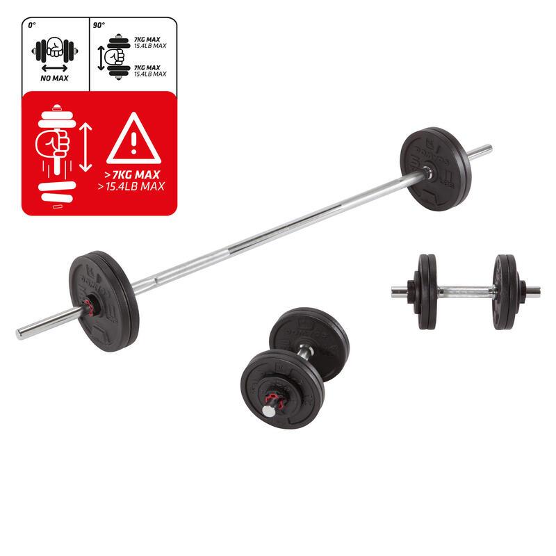 Kit mancuernas pesas y barras musculación 50 kg. Domyos Cross training