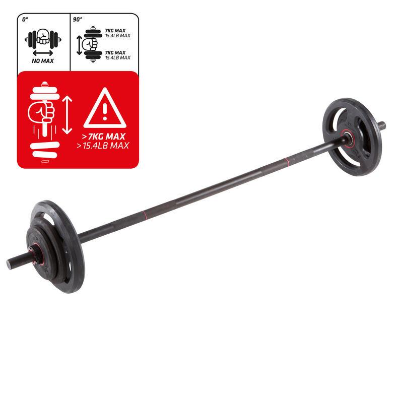 Kit barra musculación y discos 20 kg. Domyos Cross training