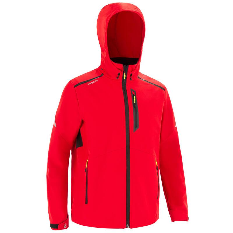 Winddichte softshell jas voor zeilen heren 900 rood