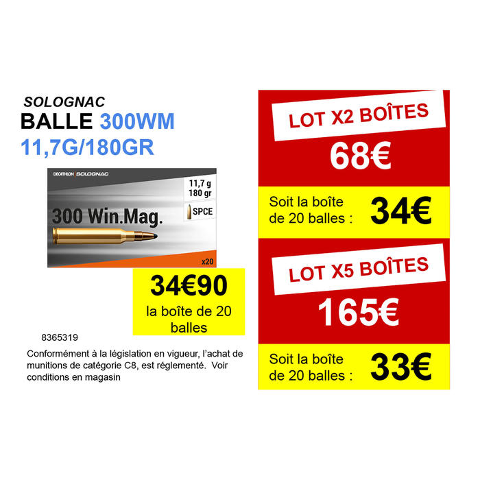 Balle 300 WINCHESTER MAGNUM 11,7G/180GRS X20