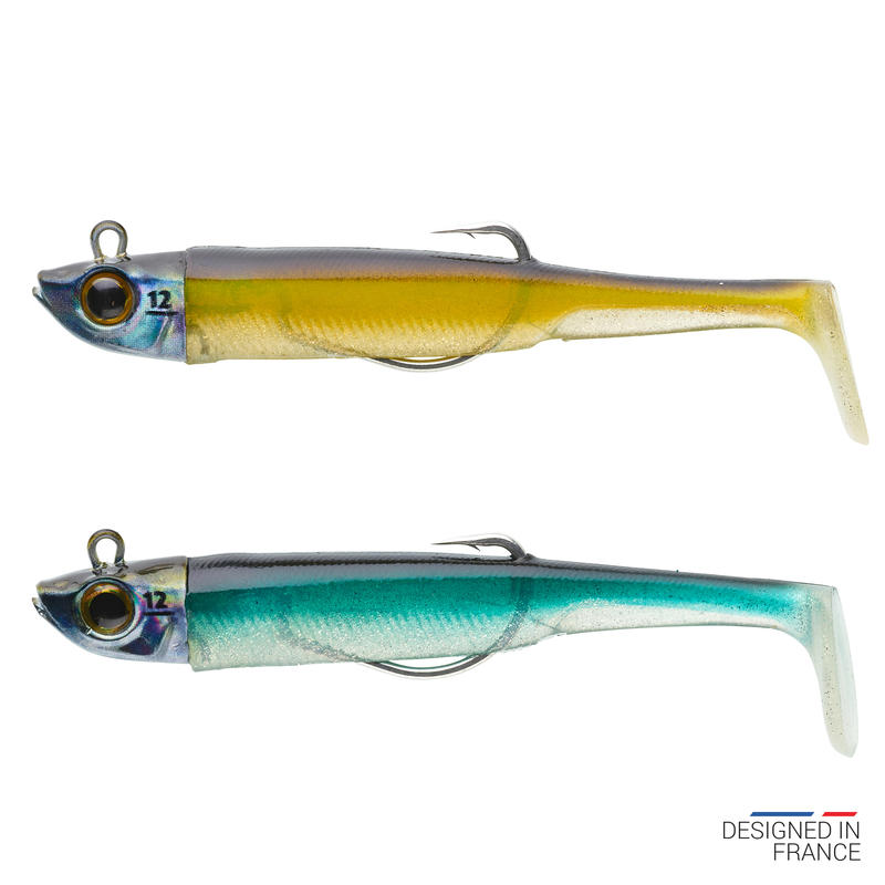 Deux leurres Ancho90 12g type anchois texan ayu/bleu