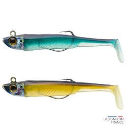 COMBO leurres shad texan anchois ANCHO 90 8gr AYU/Bleu pêche en mer