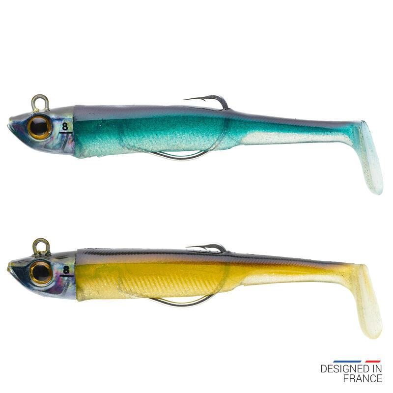 COMBO leurres souples shad texan anchois ANCHO 90 8gr AYU/Bleu pêche en mer
