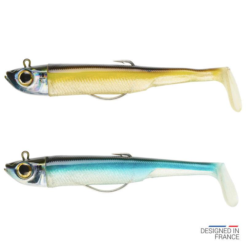 Softbaits voor zeevis Texas shad ansjovis set Ancho 120 18 g Ayu/blauw