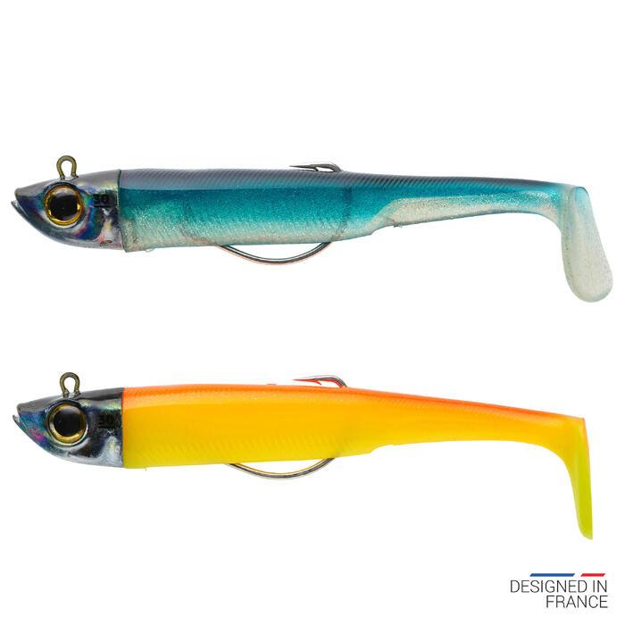 COMBO leurres souples shad texan anchois ANCHO 120 30gr bleu/orange pêche en mer