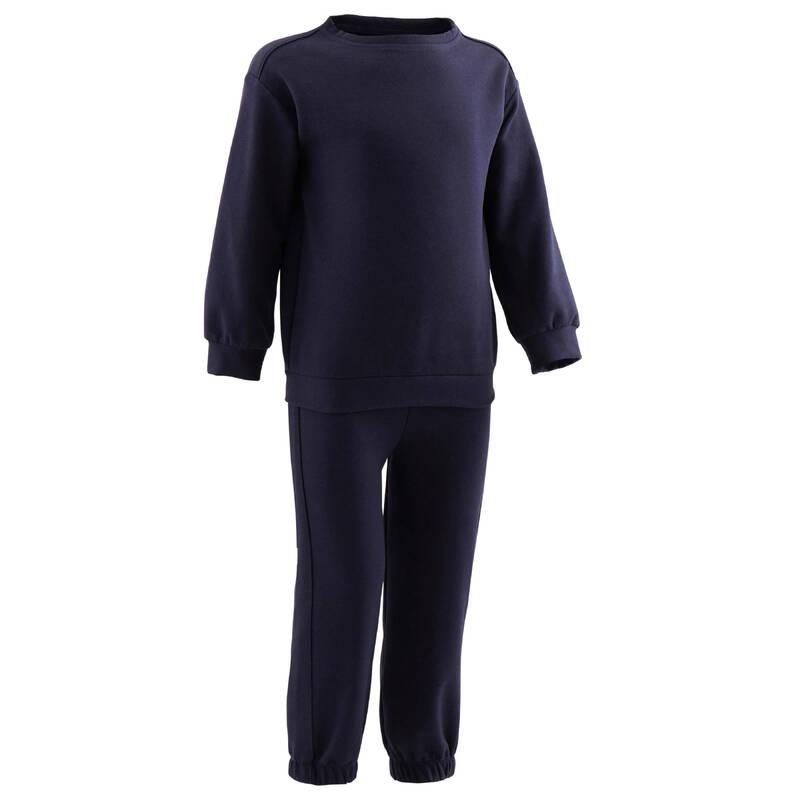 OBLEČENÍ CVIČENÍ PRO NEJMENŠÍ Cvičení pro děti - SPORTOVNÍ SOUPRAVA 100 MODRÁ DOMYOS - Oblečení pro děti od 1 do 6 let