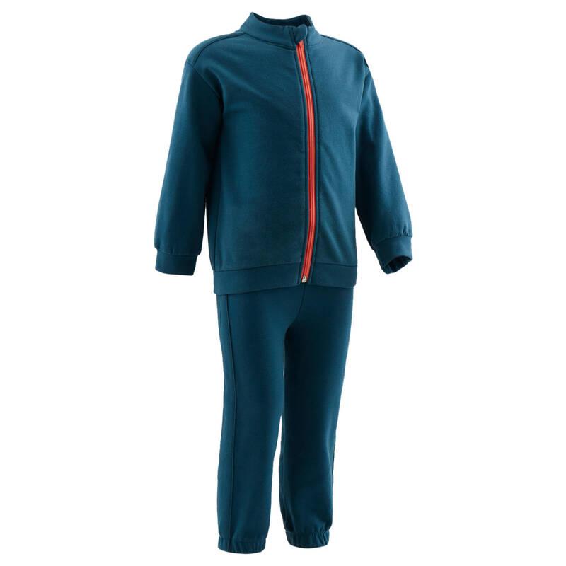 OBLEČENÍ CVIČENÍ PRO NEJMENŠÍ Cvičení pro děti - SPORTOVNÍ SOUPRAVA 120 ZELENÁ DOMYOS - Oblečení pro děti od 1 do 6 let