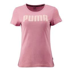 T-shirt voor dames slim fit roze met logo