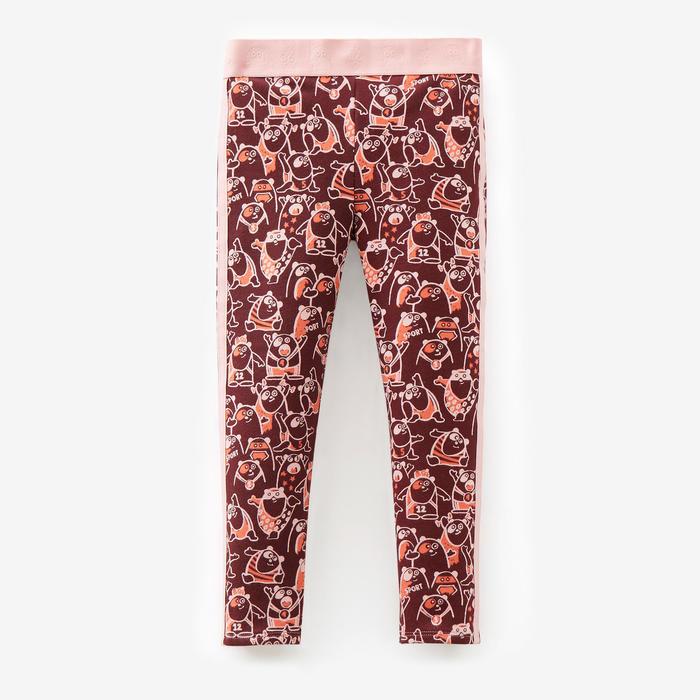 Warme legging voor peuter- en kleutergym 120 bordeaux