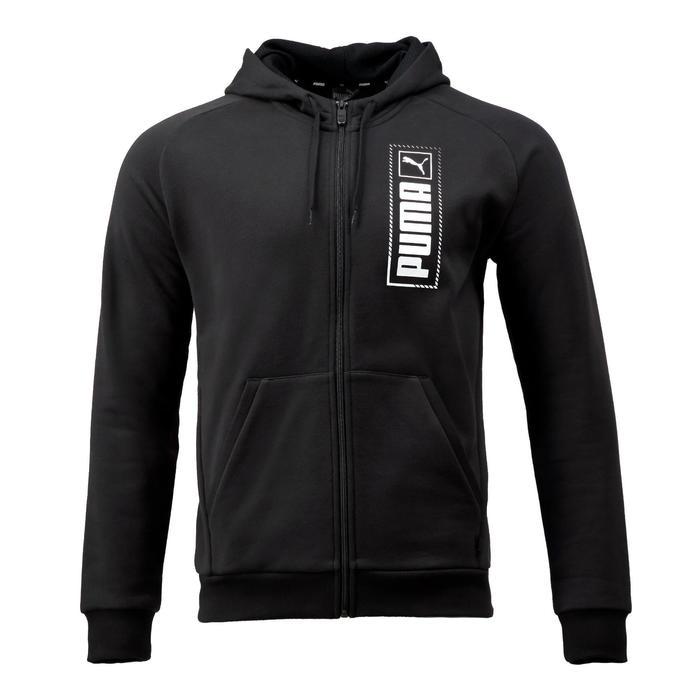 Vest met capuchon voor heren zwart met logo
