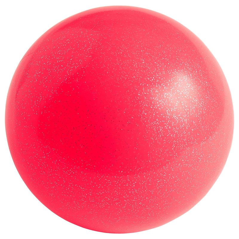 Bal voor ritmische gymnastiek 165 mm koraalrood met glitters