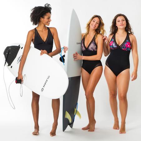 1-PIECE SURF SWIMSUIT WOMEN BACK X ISA BLACK