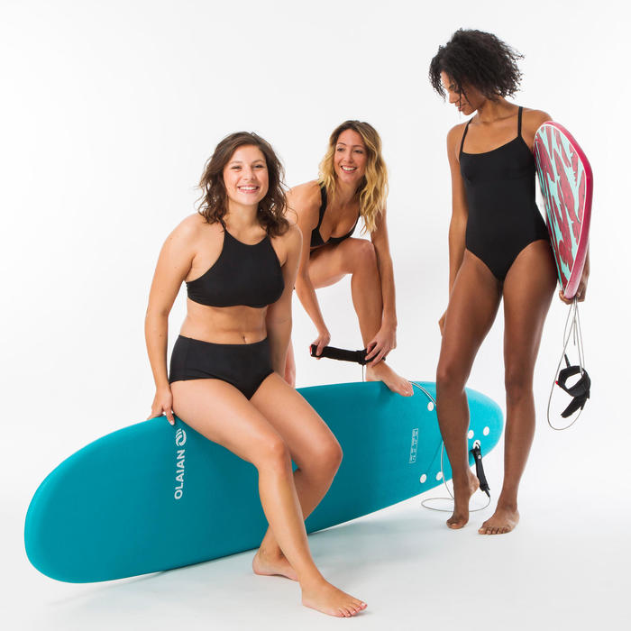 女款高腰衝浪泳褲Romi-黑色