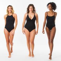 Traje de baño Mujer Surf Olaian Cloe Negro Espalda en X o en U