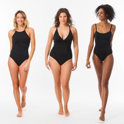 Vestido de baño Espalda en X o en U Surf Olaian Cloe Mujer Negro