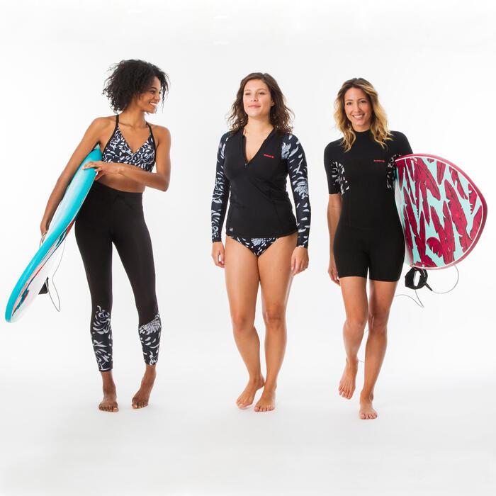 Shorty voor surfen dames 500 Akaru rugrits korte mouwen