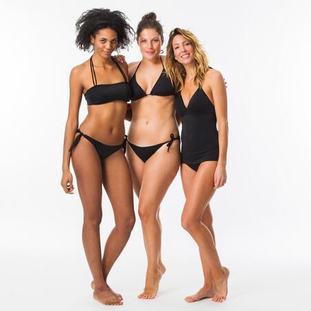 Tankini para surf Olaian. Bikini para mujer, con copas fijas. Inés. Negro.