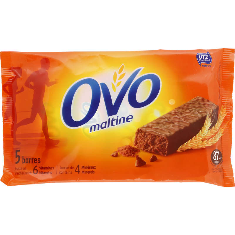 BARRAS, GÉIS& PÓS-ESFORÇO Hidratação e Alimentação - Barra OVOMALTINE Chocolat5x20g OVOMALTINE - Esforço Inferior a 1 hora