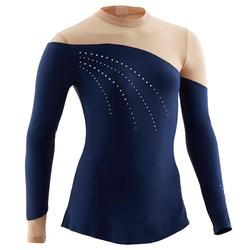 Turnpakje met lange mouwen en rokje voor ritmische gymnastiek blauw met strass