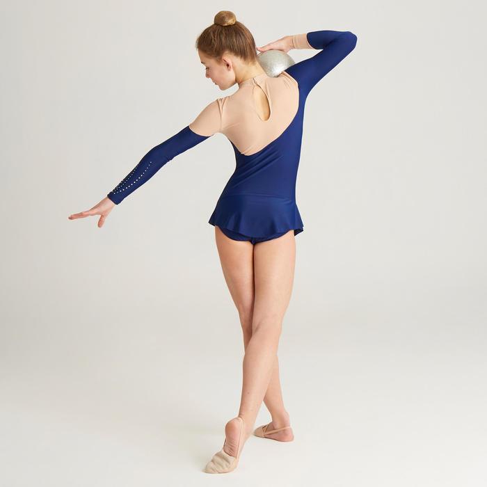 Justaucorps jupette manches longues de Gymnastique Rythmique (GR) Bleu strassé