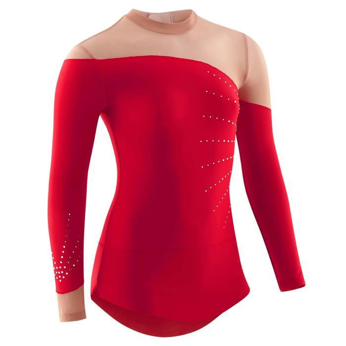 Justaucorps jupette manches longues de Gymnastique Rythmique (GR) Rouge strassé