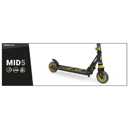 Mid 5 Kids' 6-9 YO Scooter With Handlebar Brake & Suspension Black/Green - Oxelo