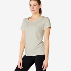 Camiseta Regular 500 mujer blanco jaspeado