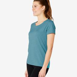 Dames T-shirt Regular 500 gemêleerd turquoise