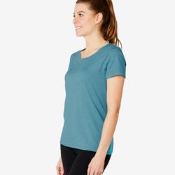 T-shirt voor pilates en lichte gym dames 500 regular fit turquoise
