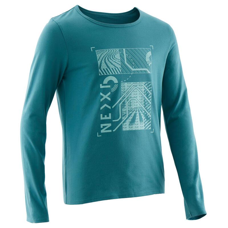 Gymshirt met lange mouwen voor jongens 100 turquoise met print