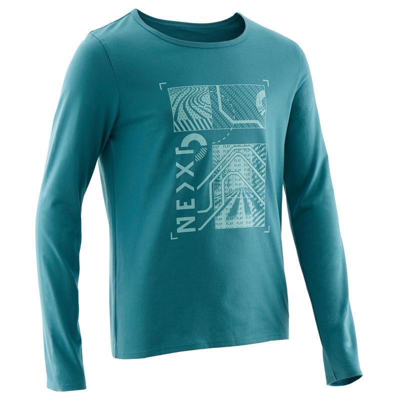 T-Shirt manches longues 100 garçon GYM ENFANT turquoise imprimé