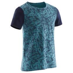 T-shirt met korte mouwen voor gym jongens 100 blauw AOP
