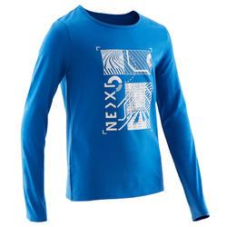 Gymshirt met lange mouwen voor jongens 100 blauw met print