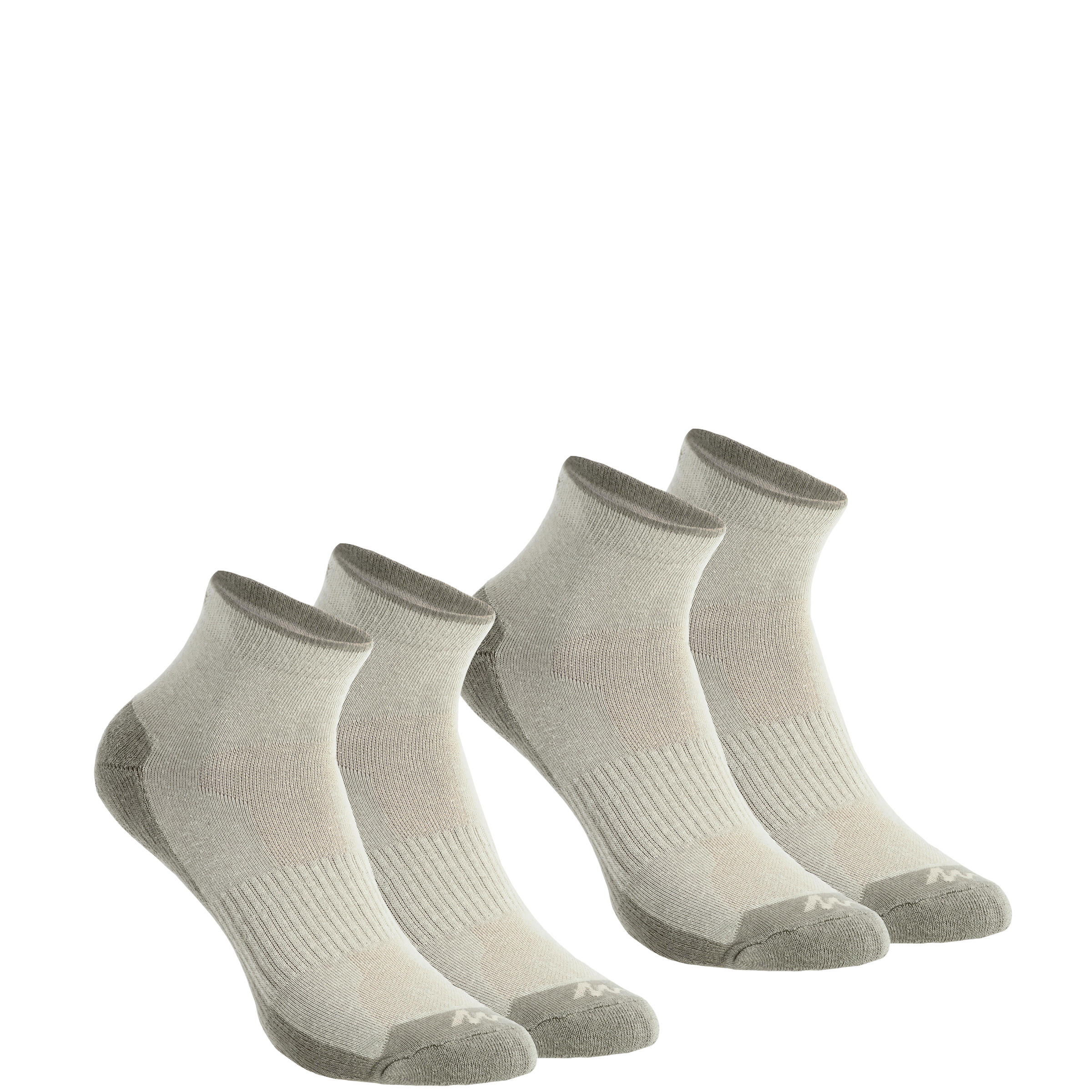 2 pairs of adult's medium Arpenaz 50 hiking socks in beige.