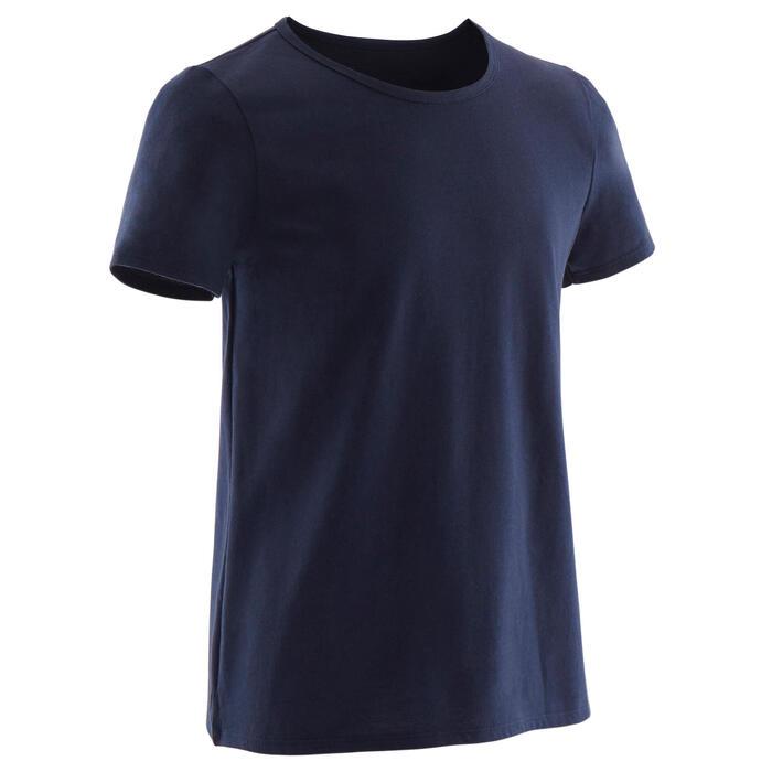 T-shirt met korte mouwen voor gym jongens 100 marineblauw